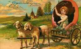 JOYEUSES PAQUES - Ange Dans Une Charette Tirée Par Des Moutons, Gaufrée - Angeli