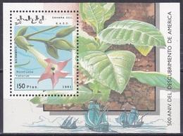 Westsahara Sahara OCC 1991 Entdeckungen Discovery Kolumbus Columbus Pflanzen Plants Tabak Tobacco, Bl. --- ** - Briefmarken