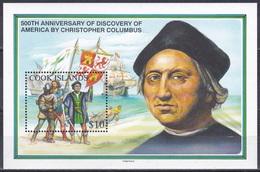 Cookinseln Cook Islands 1992 Geschichte History Entdeckungen Discovery Kolumbus Columbus Schiffe Ships Arms, Bl. 205 ** - Cook