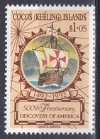 Kokos-Inseln Cocos Keeling 1992 Geschichte History Entdeckungen Discovery Kolumbus Columbus Schiffe Ships, Mi. 266 ** - Islas Cocos (Keeling)