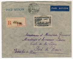 SENEGAL - Belle Enveloppe Affr. 8FR Poste Aérienne Seul - Recommandée - Dakar-principal Sénégal 1938 - Sénégal (1887-1944)