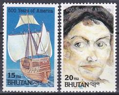 Bhutan 1992 Geschichte History Entdeckungen Discovery Kolumbus Columbus Schiffe Ships Santa Maria, Mi. 1470-1 ** - Bhután
