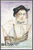 Bhutan 1992 Geschichte History Entdeckungen Discovery Kolumbus Columbus Schiffe Ships Santa Maria, Bl. 343 ** - Bhután