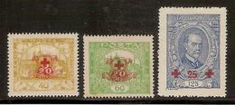 (Fb).Cecoslovacchia.1920.Serie Di 3 Val Nuovi (Yv.182/184) (50-15) - Nuovi