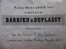 FACTURE GRAVEUR BARRIEU & DUPLASSY Succ MAISON MERCADIER A TOULOUSE 1858 - 1800 – 1899