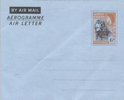 Ghana 1957 Overprinted Gold Coast Cocoa Aerogramme Watermark Letter M Not Recorded By Sehler (2007) - Ghana (1957-...)