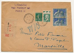 FRANCE - Enveloppe R Affr. Composé Dont 10c Semeuse Perforé H.T (frauduleux ?) En Tête L. Coutelier - 1925 - Perforadas