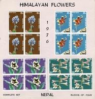 Nepal 1976 Mi 336/39, Sc 321/24, Yv 309, 313/15 Block Of 4, 2 MNH And 2 MH Himalayan Flowers - Népal