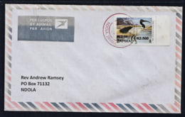 Ca0178 ZAMBIA 2016, Multi-surcharged Bird Stamp On Local Ndola Cover - Zambia (1965-...)