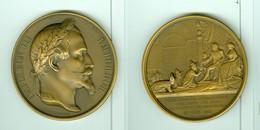 NAPOLEON III RECEPTION AMBASSADEURS ROIS DE SIAM A FONTAINEBLEAU 27 JUIN 1861 (REFRAPPE) GRAVEUR A. DUBOIS ETAT SUP - Royaux / De Noblesse