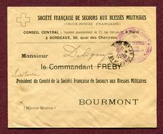 """CROIX-ROUGE : """" SECOURS AUX BLESSES MILITAIRES """" 1917 Pour BOURMONT - Marcophilie (Lettres)"""