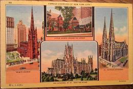 CPA, Famous Churches Of New York City, Trinity Church, St Patrick Cath, St John The Divine,Little Church Around Corner - Églises