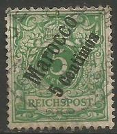 German Offices Morocco - 1899 Numeral Overprint  & Surcharge 5c/5pf Used  Sc 8 - Offices: Morocco