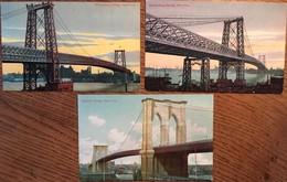 3 CPA, Bridges, Ponts De Brooklyn Et Williamsburg (2), Non écrites - Ponts & Tunnels