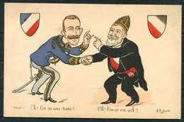 France Italy Satire Morales Comic Propoganda Postcard - Illustrators & Photographers