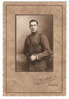 Photo Militaria Collée Sur Carte - Militaire Soldat Du 46 ème Régiment - Fouragère - Uniformes