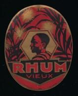 """Ancienne étiquette  Rhum  Vieux """"visage Homme"""" Imp Plouviez Et Cie - Rhum"""