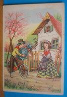 Auguri Buona Pasqua Bambino Consegna Uovo In Bicicletta Illustrata Galbi  CARTOLINA Viaggiata 1956 - Pasqua