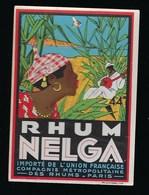 """Ancienne étiquette  Rhum  Nelga Compagnie Métropolitaine Des Rhums Paris """"homme Femme Instrument De Musique"""" - Rhum"""