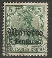 German Offices Morocco - 1905 Germania Overprint  & Surcharge 5c/5pf Used  Mi  20 - Offices: Morocco