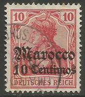 German Offices Morocco - 1905 Germania Overprint  & Surcharge 10c/10pf Used  Mi  23 - Offices: Morocco