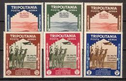 """(Fb).Colonie.Tripolitania.Posta Aerea1934.""""Mostra Arte Coloniale"""".Serie Completa Di 6 Val Nuovi,g. Integra,MNH (36-16) - Tripolitania"""