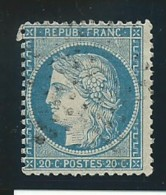 FRANCE: Obl., N° YT 37, Bleu, Déchiré 5mm, Bel Aspect - 1870 Siège De Paris