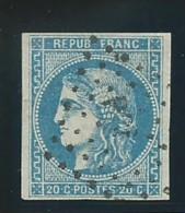 FRANCE: Obl., N° YT 46B, T.III, R.2, Bleu, Obl. Griffe De Gare (illis.) Inconnue Sur Ce Tp, B/TB - 1870 Emission De Bordeaux