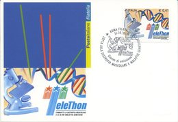 ITALIA - FDC MAXIMUM CARD 2002 - TELETHON - ANNULLO SPECIALE - Maximumkarten (MC)