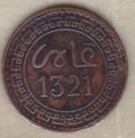 Maroc. 2 Mazunas (Mouzounas) HA 1321 (1903) Paris. Abdul Aziz I. Frappe Médaille. Bronze. - Marruecos