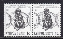 CYPRUS - 1984 REFUGEE FUND STAMP PAIR ON CHALK-SURFACED PAPER FINE MNH ** SG 634 X 2 - Unused Stamps