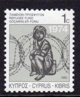 CYPRUS - 1989 REFUGEE FUND STAMP GRANITE PAPER PERF 11.5 FINE MNH ** SG 747 - Unused Stamps