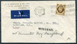1947 GB Dempster & Co, Liverpool Airmail Cover - USA. Cambridge Minn. Redirected Maryland MISSENT - 1902-1951 (Kings)