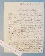 L.A.S Félix-Joseph BARRIAS Peintre Illustrateur à William BOUGUEREAU AMIENS Hôtel De France Angleterre Lettre Autographe - Autographes