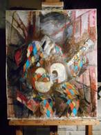 Tableau Cubiste Guitariste Huile Sur Toile 54 Cm X 65 Cm Signé - - Huiles