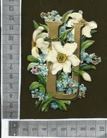 CHROMO DECOUPIS GAUFRÉ / LETTRE ALPHABET / U / FLEURS DE NARCISSE ET MYOSOTIS - Flowers