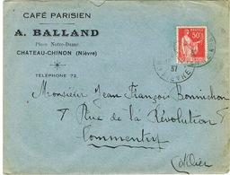 ENVELOPPE  A EN-TETE CAFE PARISIEN A BALLAND CHATEAU-CHINON - Marcophilie (Lettres)