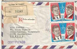 PARAGUAY  CC CERTIFICADA A SUECIA SELLOS JOHN Y ROBERT KENNEDY - Kennedy (John F.)