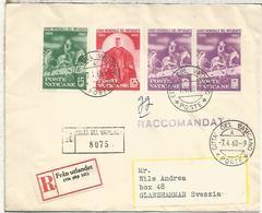 VATICANO 1960 CC CERTIFICADA A SUECIA SELLOS AÑO MUNDIAL DEL REFUGIADO REFUGEE - Refugiados