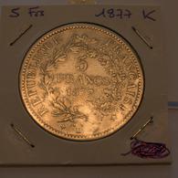 5 Francs 1877 K - France
