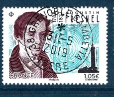 France 2019.Augustin FRESNEL.Cachet Rond Gomme D'Origine. - France