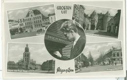 Groeten Uit Bergen Op Zoom 1952; Meerluik Met O.a. Raadhuis En Antwerpschestraat - Gelopen. (DRC) - Bergen Op Zoom