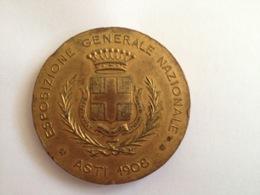 Italia: Medaglia Esposizione Generale Nazionale Asti 1908 - Professionnels/De Société