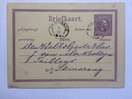 NETHERLANDS INDIES 1884 Stationary Card - Ambarawa To Samarang - Indie Olandesi
