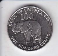 MONEDA DE ERITREA DE 100 CENTS DEL AÑO 1991 (ELEFANTE-ELEPHANT) - Erythrée