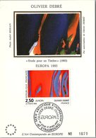 FRANCE - CARTE MAXIMUM  PREMIER JOUR OLIVIER DEBRE EUROPA 17.4.1993 STRASBOURG 67  / 2 - Cartas Máxima