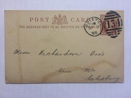 GB 1898 Stationary Card Bristol Duplex To Salisbury - J. Schweppe & Co. - 1840-1901 (Victoria)