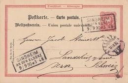 DR Ganzsache R3 Sinsheim An Der Elsenz 9.9.90 Gel. In Schweiz - Deutschland