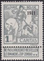Belgie   .  OBP  .   92  (2 Scans)     .    **   .     Postfris    .  /   .  Neuf Sans Charniere - 1910-1911 Caritas