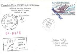 """TAAF - Lettre """"Marion-Dufresne"""" Avec Timbre Poste Aérienne N°56 Laté 300 - Cachet Manuel 974 Le Port - 28/02/1983 - Cartas"""